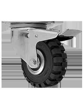 "Rodaja marca Joyma, giratoria con freno total, de 4"" de Hule tipo tractor."